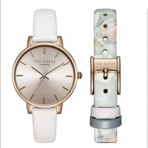 Ted Baker Floral White Strap Watch